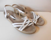 Sas White leather 80s Sandals, Size 8