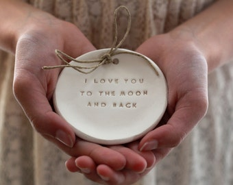 I love you to the moon and back Ring bearer pillow alternative Wedding ring dish - Ring bearer Wedding Ring pillow