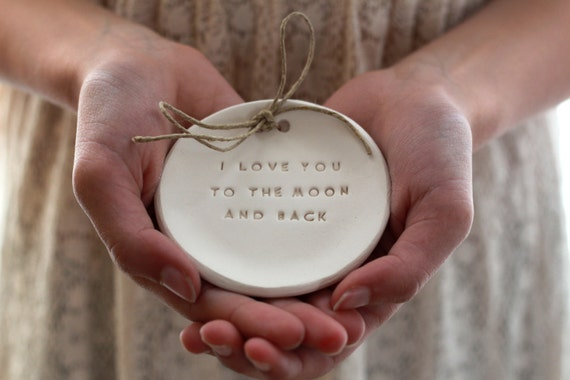 Valentine's day gift I love you to the moon and back Ring bearer pillow alternative Wedding ring dish - Ring bearer Wedding Ring pillow