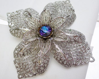 Large FIligree Flower Pin/Pendant with Purple/Blue Crystal Center
