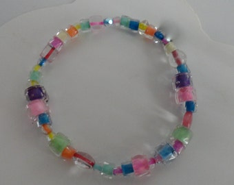 Stretch Bracelet of Czech Glass Beads, Clear, Lined in Bright Colors Some Faceted for Sparkle Jewelry Christmas Holiday Size Medium