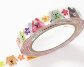 Kawaii colorful Animals, Nami Nami Deco - Japanese Die Cut Colorful Washi Masking Tape - Collage, Gift Wrapping