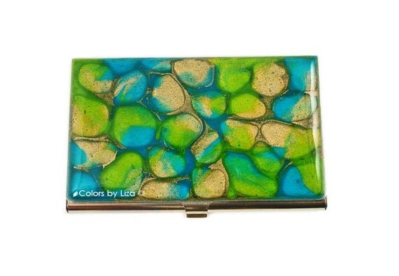 business card case hand painted enamel turquoise