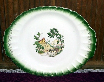 Le Maitre Hand Painted Country Scene, American Limoges, Chateau France, China Platter, France, French China, Green Gold Trim, Castle Scene,