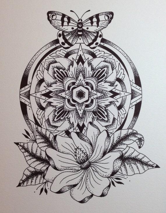 Items Similar To Butterfly Mandala print On Etsy