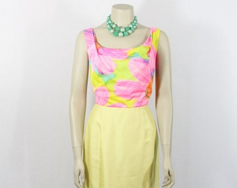 SALE.....1960s Vintage Dress - Yellow and Wild Multi-Colored Nylon Evening Out Dress - 36 / 26/ 37