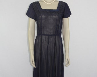 1940s Vintage Dress - Navy Blue Semi Sheer Cotton Pin Tucked - 40 / 32 / full