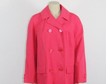 SALE......1960's Pink Vintage Rain Coat - Hot Pink Stylish 60's Mod Rain Coat - Plus Size