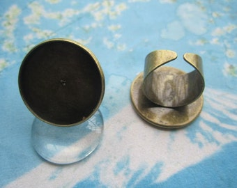 very strong 10pcs antiqued bronze 25mm round cameo/cabochon  tray cuff ring blank--size 17mm adjustable