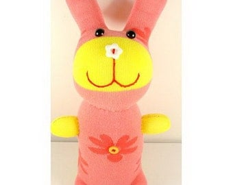 Super Deal Handmade Red Flower Print Sock Rabbit Bunny Stuffed Animal Doll Baby Toys