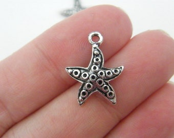 14 Starfish charms antique silver tone FF205