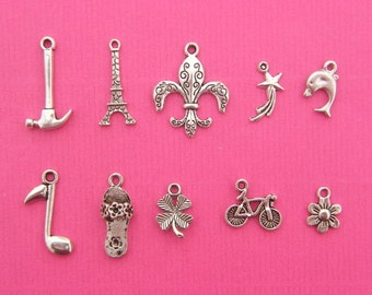 Cake Pull 1 - 10 different antique silver tone charms