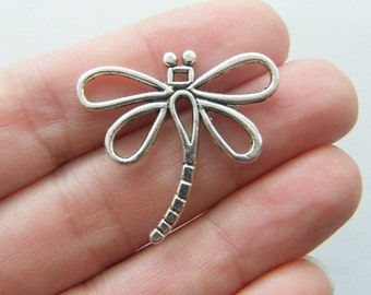 6 Dragonfly charms  antique silver tone A385