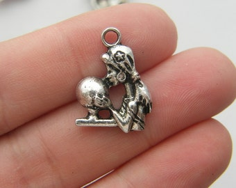 6 Fortune teller charms antique silver tone P81