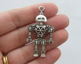 2 Robot pendants antique silver tone P209