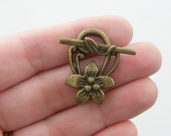BULK 20 Flower toggle clasp sets antique bronze tone BC66