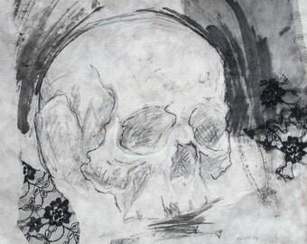 skull original mixed media artwork