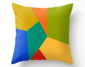 COLORFUL GEOMETRIC decorative pillow for kids, scatter cushion, yellow green turquoise blue red orange gold, dorm decor