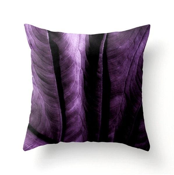ELEPHANT EAR LEAF decorative pillow plum wall decor purple