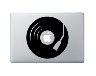 Turntable Macbook Decal - Record Player Laptop Decal - Music Decal