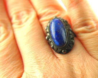 French Blue Glass Ring - Silver - Vintage