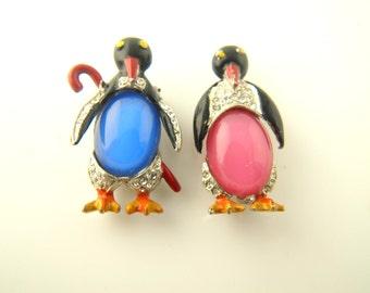 SALE: 1930's Penguin Fur Clips - Vintage