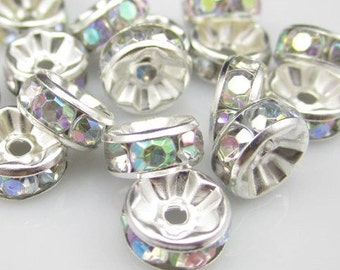 100pcs - 6x3 - EXTRA SPARKLY - Top quality - Silverplated -  AB Rhinestone - rondelle Spacer beads - glass rhinestone