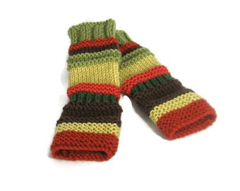 Fingerless Gloves, Knit Gloves, Texting Gloves, Multicolor Gloves, Orange, Green, Gold and Brown Gloves, Girl, Teen, Winter