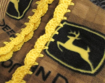 John Deere Fleece Brown Yellow Boy Baby Blanket With Bright Yellow Shell Crochet Edge