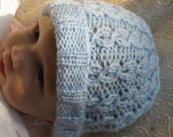 Baby KNITTING PATTERN - Baby Blue Mock Cable Knit Hat - 0 to 3 months and child sizes