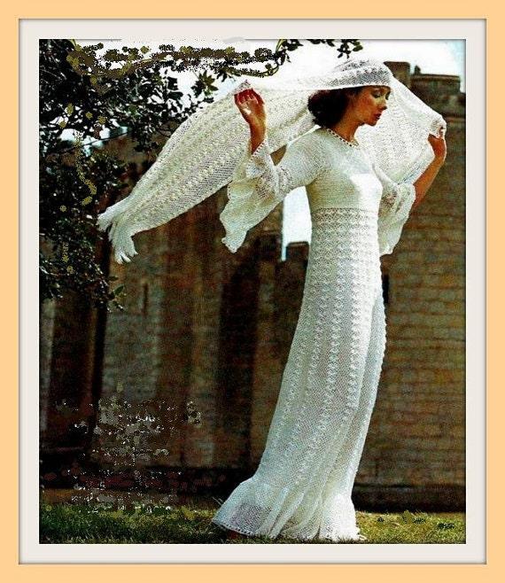Vintage Crochet Pattern Wedding Dress And Stole/Shawl