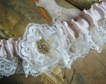 Ivory Satin and Lace Garter