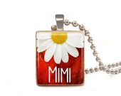 Red Mimi With Daisy - Scrabble Tile Necklace - Free Necklace Chain Included