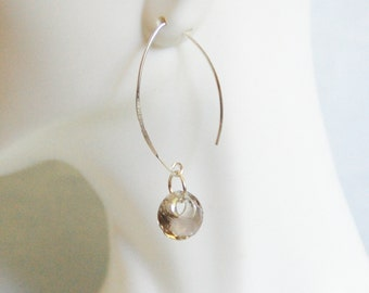 Gorgeous Smoky Quartz Disc Briolette Dangle Drop Earrings -Smoky Quartz Earrings - Wedding jewelry- Bridal Jewelry-Bridal Accessories