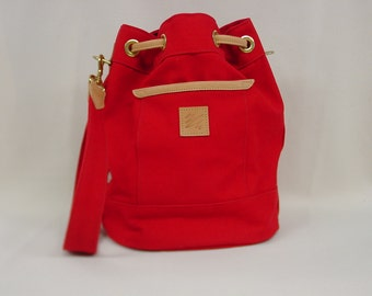 Bucket Bag Red Canvas w/Leather Trim