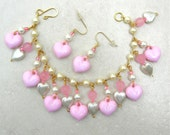 SALE - 50% off, Sweet Pink & White Pearl Heart Charm Bracelet, Valentine gift, set by SandraDesigns