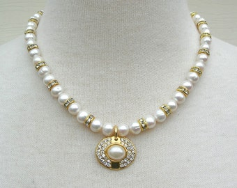 ELEGANT Pearls & Rhinestones, Quality Freshwater Pearls, Pendant Purchased in Hong Kong, Wedding Necklace, Set by SandraDesigns
