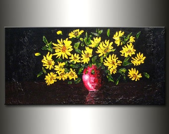 Original Textured palette knife Abstract art Contemporary Floral Painting, yellow flowers bouquet in vase 48x24