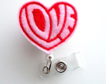 Valentine's Day Love Heart - Badge Reel - Nurses Badge Holder - Teacher Badge Clip - Office Badge Holder