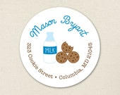 Milk and Cookies Address Labels (Blue) - Sheet of 24