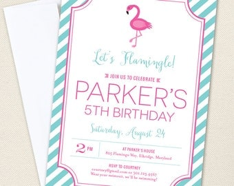 Flamingo Party Invitations - Professionally printed *or* DIY printable