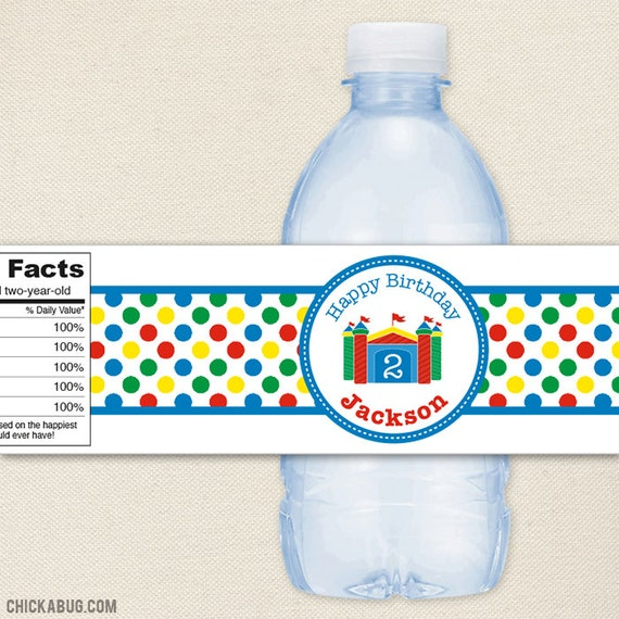 Bounce House Party - 100% waterproof personalized water bottle labels