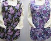 Gorgeus Lilac And Floral Reversible Cobbler Apron (Medium)