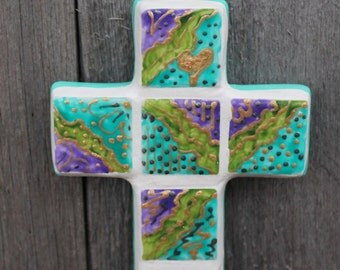 hand painted mosiac cross Christian wall decor turquoise, purple, spring green and metallic gold