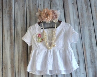 Summer shirt, Sweet french country chic summer cotton top, Magnolia White, romantic, boho top, shabby floral, True rebel clothing Small