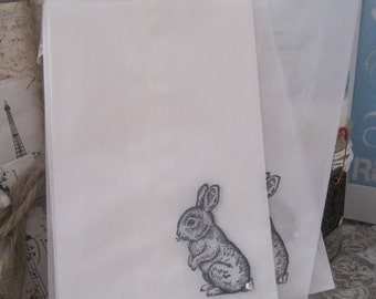 shabby cottage chic bunny glassine sacks set of 8