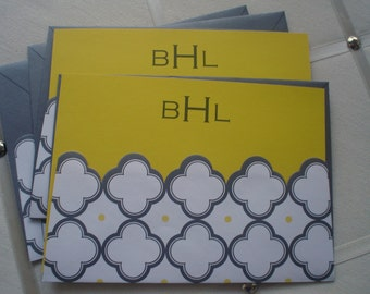 Yellow Flat with Gray and  Yellow Quatrefoil Envelope