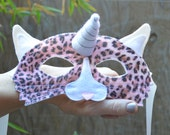 Unicorn Cat Mask--Leopard Print Pink