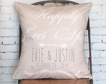 Wedding Gift cotton anniversary gift Happily Ever After pillow cover