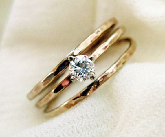 Engagement Diamond Ring. Hammered 14K Gold And Conflict Free .12ct Diamond. Fine Jewelry. Solitaire Ring.